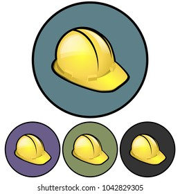 Circular yellow hard hat icon. Four color variations. Isolated on white