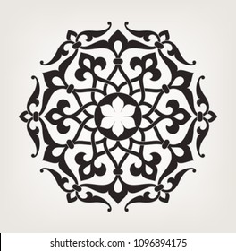 Circularfloral  pattern. Mandala. Round vintage vector ornament in Arabesque style.