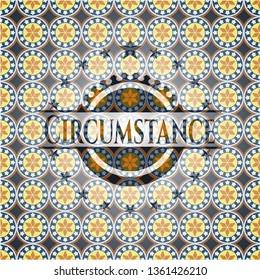 Circumstance arabic badge background. Arabesque decoration.
