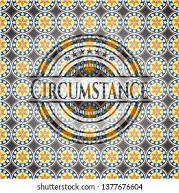 Circumstance arabic emblem background. Arabesque decoration.