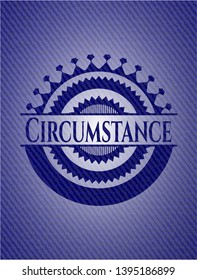 Circumstance emblem with jean high quality background. Vector Illustration. Detailed.