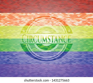 Circumstance emblem on mosaic background with the colors of the LGBT flag