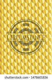 Circumstance gold badge or emblem. Scales pattern. Vector Illustration. Detailed.