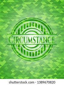 Circumstance green emblem with mosaic ecological style background. Vector Illustration. Detailed.