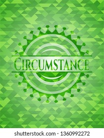 Circumstance green emblem with triangle mosaic background