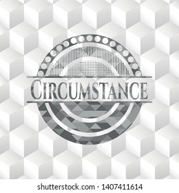 Circumstance grey emblem with geometric cube white background