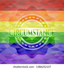 Circumstance on mosaic background with the colors of the LGBT flag