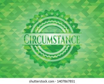 Circumstance realistic green mosaic emblem. Vector Illustration. Detailed.