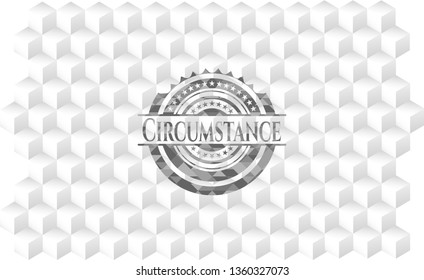 Circumstance realistic grey emblem with geometric cube white background