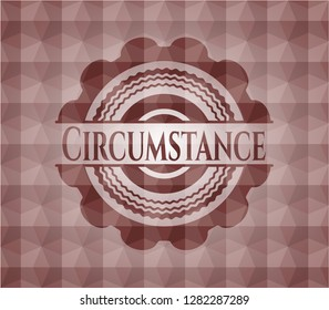 Circumstance red badge with geometric pattern. Seamless.