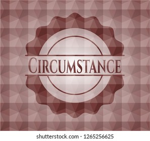 Circumstance red seamless badge with geometric pattern background.
