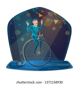 Circus acrobat balancing on vintage bicycle vector icon of carnival show or chapiteau performance design. Gymnast in blue costume riding retro bike or unicycle on arena with festive lights and flags