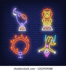 Circus acrobat elephant, lion and ring on fire, neon signs set. Circus show and entertainment design. Night bright neon sign, colorful billboard, light banner. Vector illustration in neon style.