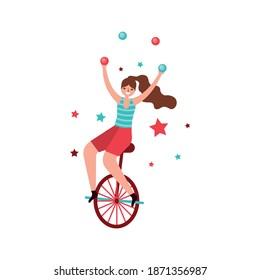 circus acrobat on bike wheel and balls. retro character .vector illustration