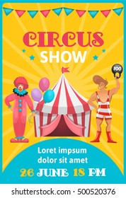 Circus advertisement poster colorful with cartoon artists editable text and event date on orange blue background vector illustration