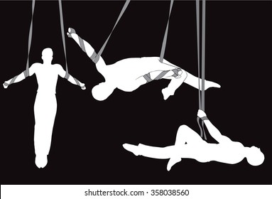 Circus aerial straps male vector silhouettes.