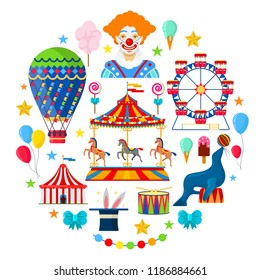 Circus and amusement icons in flat style on white background
