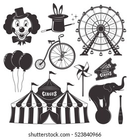 Circus and amusement park with ferris wheel set of vector black objects, silhouettes, icons and design elements isolated on white background