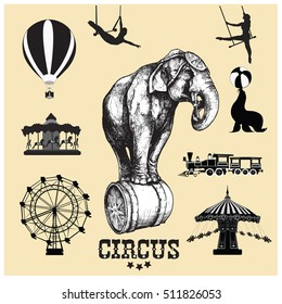 Circus and amusement park vector illustrations. Elephant.