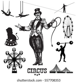Circus and amusement park vector illustrations. Showman