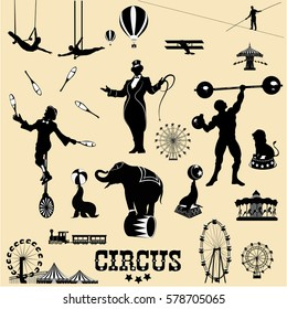 Circus and amusement  park vector illustrations set .