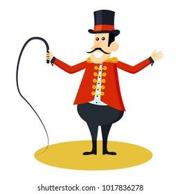 Circus animal trainer icon. Cartoon illustration of circus animal trainer. Vector isolated retro show flat icon for web