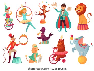 Circus animals. Animal acrobatic tricks, circus family acrobat entertainment. Animals lion, dog and elephant performance with circus magician. Cartoon vector isolated illustration icons set