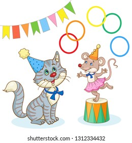 Circus animals. Funny cat sits in a clown cap and a mouse juggles with rings. In cartoon style. Isolated on white background