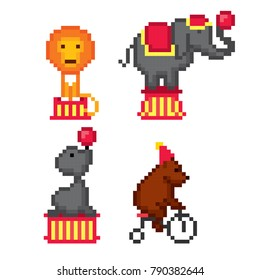 Circus animals. Pixel art. Old school computer graphic style. 8 bit video game. game element.