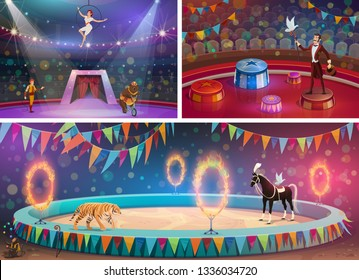 Circus arena, chapiteau show and handler with gymnast, magician and animals. Vector woman in hoop and man with whip, bear on bicycle and flame circles. Tiger and horse, juggling monkey and dove