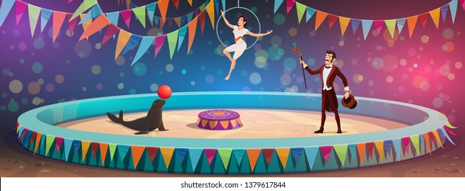 Circus arena and performers show. Vector big top circus animal tamer with seal juggling ball, magician illusionist with magic wand and equilibrist on aerial hoop