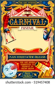 Circus artist park show Template. Cartoon Poster masquerade Invite. Kids game Birthday Party design. Carnival festival Background Juggling Acrobatic Cabaret Vintage vector card. Acrobat Retro theme.