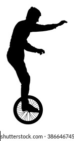 Circus Artist performer vector silhouette on white background. Clown mono cyclic, riding mono cycle on a wire above audience. Entertainment for kids. Happy birthday Children animator. Acrobat on stage
