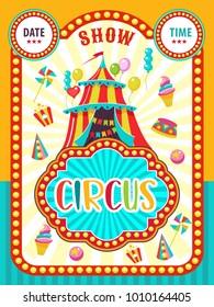 Circus artist. Poster of a circus show. Vector clipart.