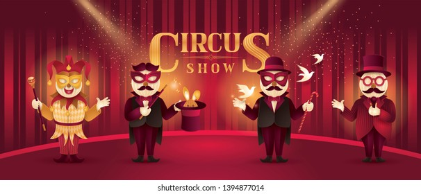 Circus Artists Actors show set, Magic show and magician trick with rabbit, Circus Barker with Hat, Venetian Jester mask, Fun Fair, Carnival festival, Circus Characters, Paper art vector
