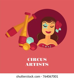 Circus artists promo posterwith female juggler and equipment