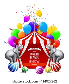 Circus background with colorful balloons, elephant, tent and gift boxes.