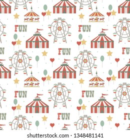 Circus background. Element of seamless pattern. Simple objects set. Vector illustration.