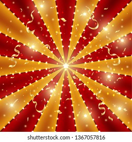 Circus background of red and gold lines stripe with star constellations, light bulbs and tinsel. Retro sun beam ray template for banner, invitation flyer. Vintage fun fair burst carnival vector poster