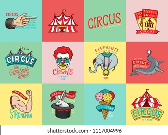 Circus badge. Vintage Carnival logos or emblems. Label for the festival banner and show. Harlequin with animals. retro clown and elephant, ice cream, magic focus in the tent. engraved hand drawn.