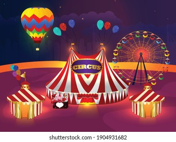 Circus  beautiful vector illustration  with circus tents and ferris place.