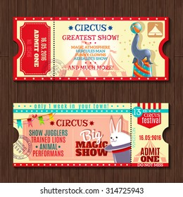Circus big magic show with trained animals two vintage entrance tickets templates set abstract isolated vector illustration