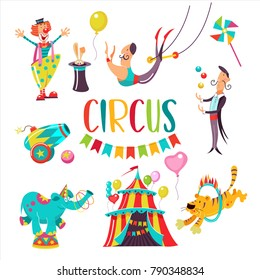 Circus. Big set of vector cliparts. Isolated on white background. Happy clown, tent, tiger jumping through a ring of fire, juggler, elephant, aerial acrobat, the rabbit in the hat, circus cannon.