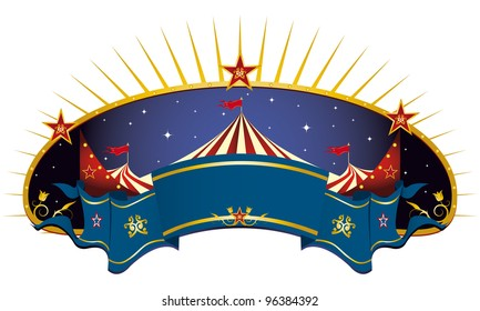 circus blue banner. A circus frame with a big top and a large ribbon for your message.