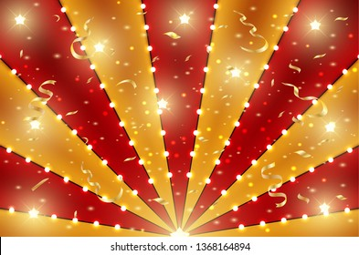 Circus bottom background of red and gold lines stripe with star constellations, light bulbs and tinsel. Retro sun beam ray template for banner, invitation flyer. Vintage fun fair burst carnival poster