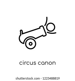 circus canon icon. Trendy modern flat linear vector circus canon icon on white background from thin line Circus collection, outline vector illustration