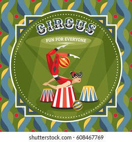 Circus card with acrobat girl vector illustration
