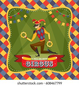Circus card with the Harlequin vector illustration