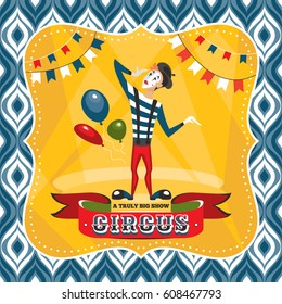Circus card with mime artist vector illustration