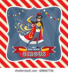 Circus card with the mysterious magician vector illustration
